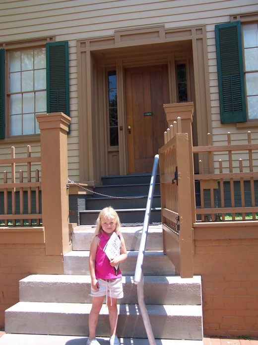 Close up of Lincoln's front porch. Exciting to even 7-year-old junior history buffs.