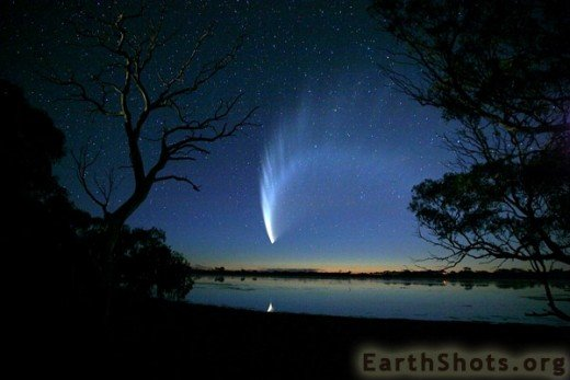 This is a Feb. 2nd, 2007 shot of comet McNaught. Elenin may present a view such as this and it will be a lot closer to earth when it does. Earth may pass through the tail.