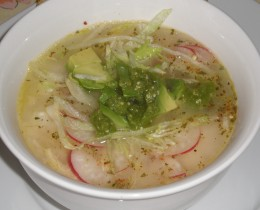 Pozole, a Mexican Broth made with Hominy, Chicken and Holly Leaf.