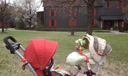 Tandem stroller with Graco Car Seat in provided frame