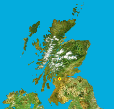 Map location of Glasgow, Scotland