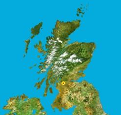 Map location of Glasgow, Scotland