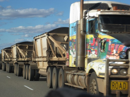 We passed road trains