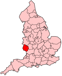 Map location of Herefordshire, England