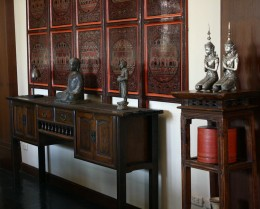 Burmese Lacquerware Panel, Buddha Image, Thao Monk Wood Carving, Teppanom Angels, Burmese Lacquer Kun-it Container