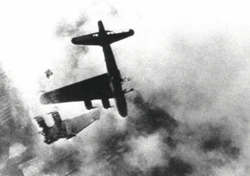 A B-17 bomber crashing during WW2