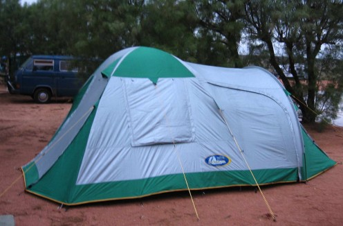 Our newly erected tent - fresh out of the box