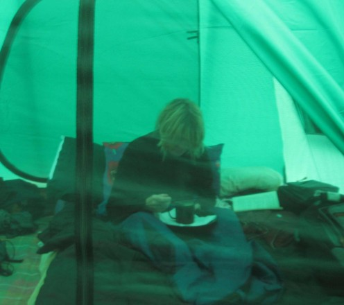 Hibernating in the comfort of the dome tent