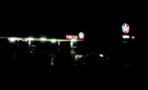 The Caltex Servo - symbol of our plight, plus crap music from the forecourt -handy for drinks and chocs though.