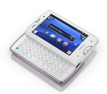 Sony Ericsson Xperia Mini Pro (new) with front-facing camera and keyboard.