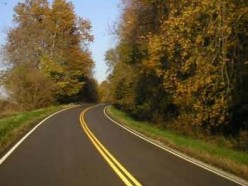 A typical view on a 2 lane highway.