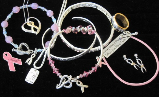 My collection of breast cancer jewelry given to me by my family, friends and doctors.