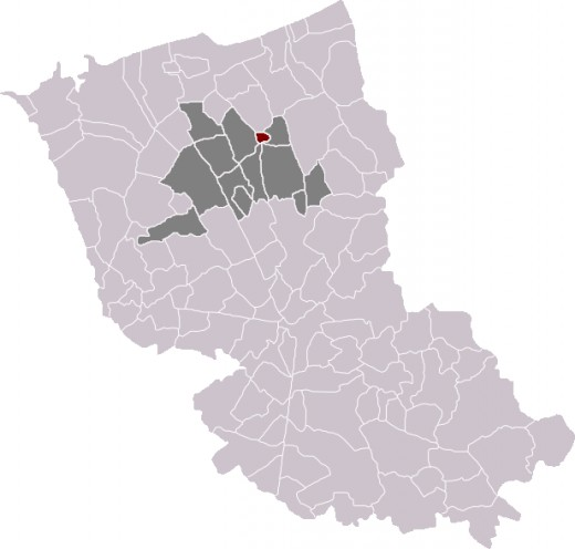 Map location of Bergues in Dunkirk (Dunkerque) 'arrondissement'