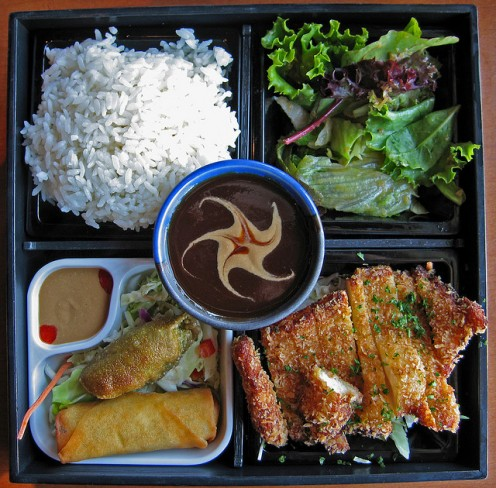 Typical bento box as served in Japanese-style restaurants. (CCL C)