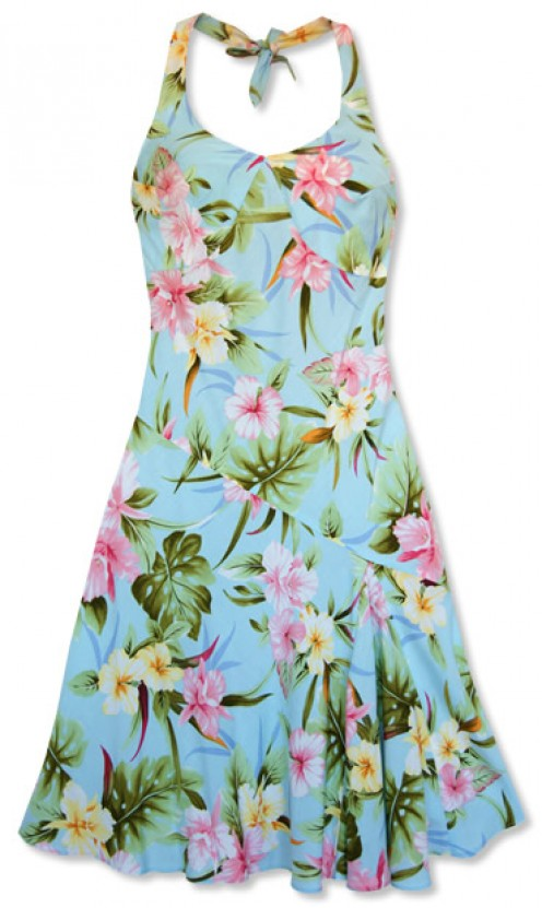 This Anuenue Blue Hawaiian Dress is very colorful and available from Papaya Sun.