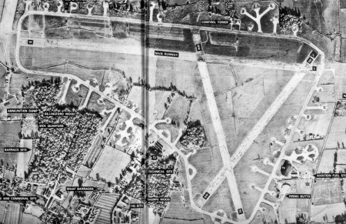 Aerial view of Thorpe Abbotts in 1946