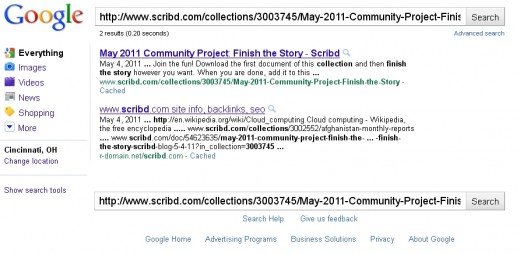 "Google does not offer a ""block Scribd"" link, but they do offer a ""Block HubPages"" link."