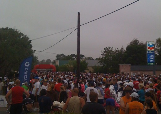 Runners line up at the start line