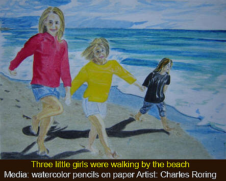 Three little girls walking by the beach - watercolor painting by Charles Roring