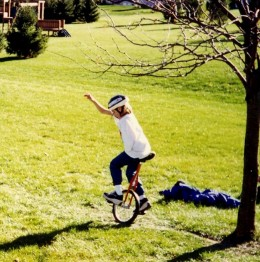 Starting to ride in the backyard.