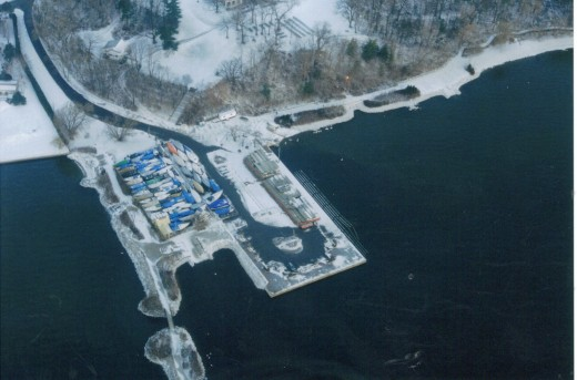 LaSalle Marina with the floating docks in storage on the permanent dock in winter to prevent ice damage.