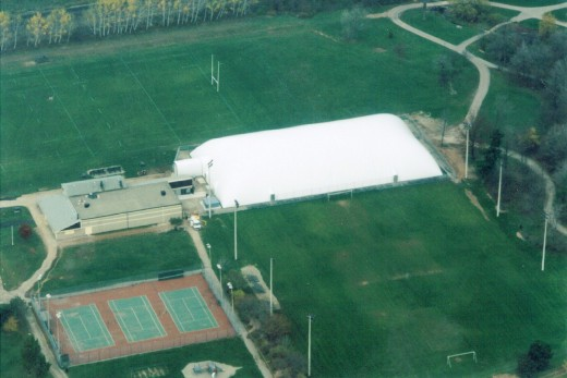 The newly constructed soccer dome at Sherwood Forest Park about 2000.