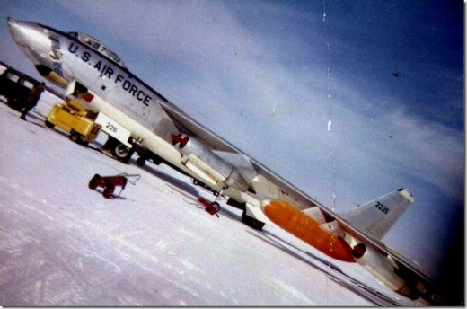 B-47 in Alaska being readied for flight to Dyess AFB