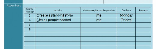 An Action Plan looks like this.