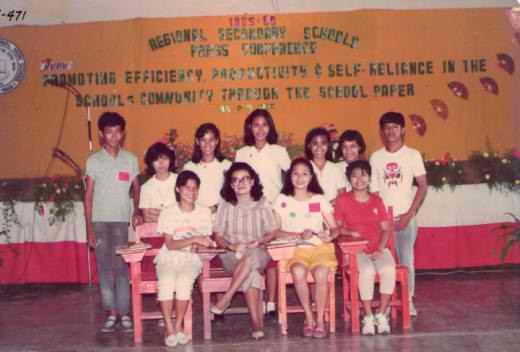 The young writer with the rest of high school Bicol Craftsman Staff & moderator (Photo taken from NSSPC Flashbacks by DON BALDERAS)