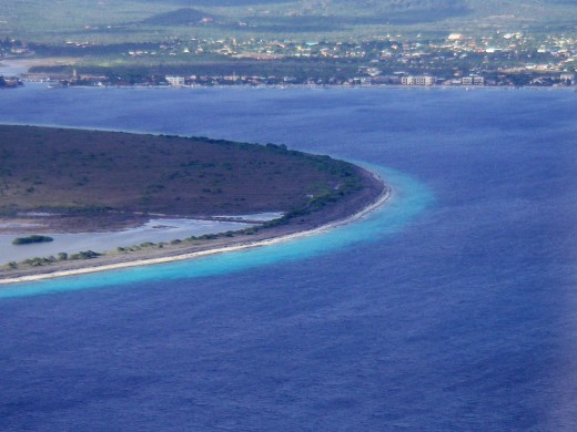 East tip of Klien Bonaire; larger Bonaire coast in the distance