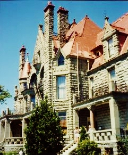 Partial view of Craigdarrouch Castle in Victoria
