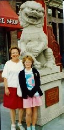 My mother and niece in front of one of the Stone Lions in Chinatown