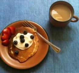 Pancake with vanilla yogurt and berries...healthy and yummy.