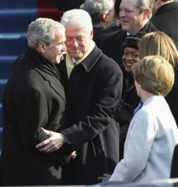 George W. Bush and Bill Clinton arriving for the inauguration of President Barach Obama.