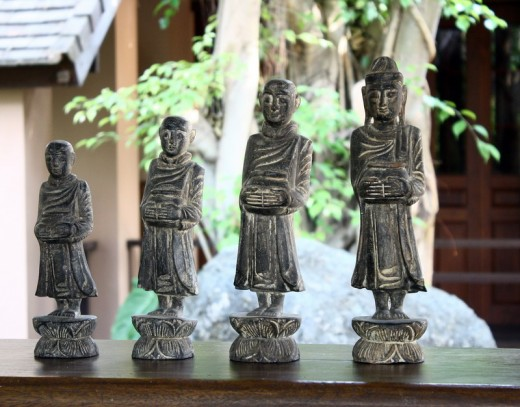 Antique Wood Carving - Buddha & Monks