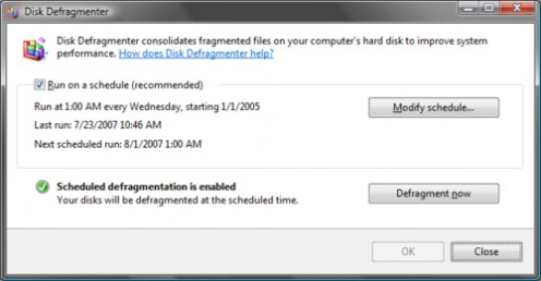 Windows Vista Defragmenter