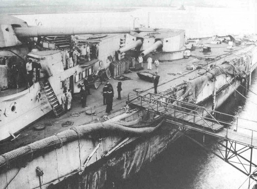 SMS Derfflinger, showing Battle Damage from the Battle of Jutland in 1916