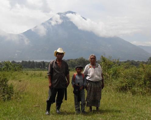 indigenous Mayan family from village near lake Atitlan.