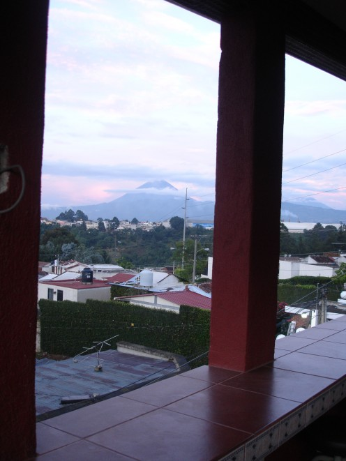 view of Pacaya and Agua the two largest active volcanoes in Guatemala from the 4th floor window