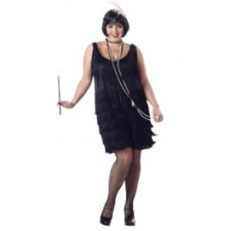 Flapper Fashion Plus (Black) Adult Costume