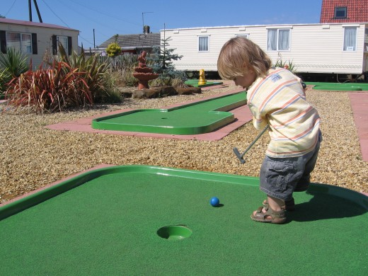 Mini golf is another facility to try - I didn't know my two year old was going to be so into it.