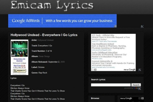 Since Emily had to work, I spent the evening redesigning my lyrics website: Emicam Lyrics.