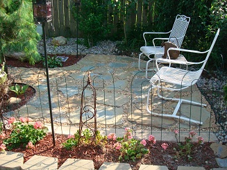 Natural Stone Patio, made with found stone and pea gravel