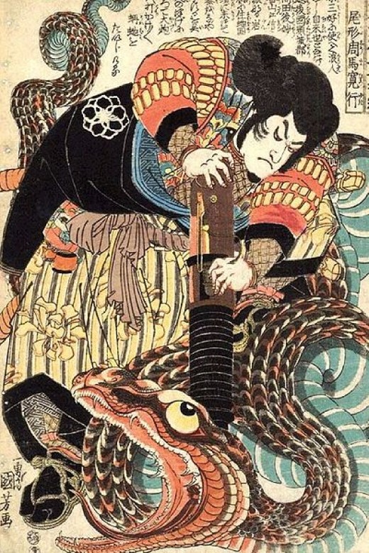 "Jiraiya, ninja and title character of Japanese folklore, ""Jiraiya Monogatari""."