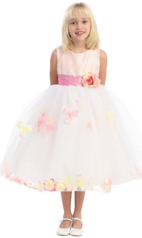 Floral Designed Flower Girl Dress