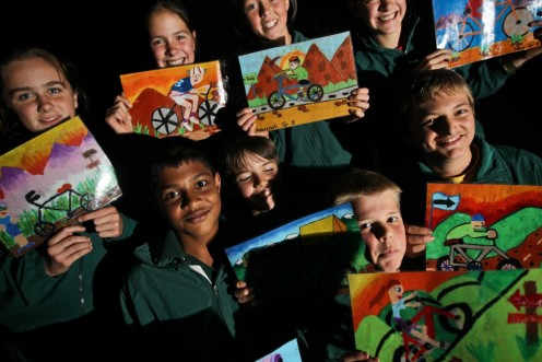 The school children and their artworks