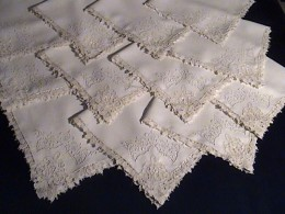 Frothy clean Point de Venise dinner napkins, pressed ready to use!