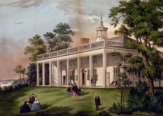 Lithograph of George Washington's Mount Vernon home.  This home had been in Washington's family for four generations.