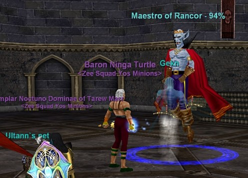 A group of players joining forces to attack a common foe - Rancor.