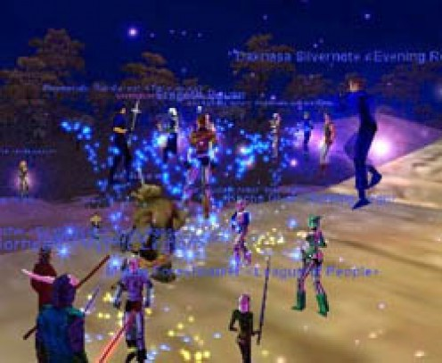 A large force of people can form a club online, called a guild, where up to 54 players can join forces to attack really tough opponents!